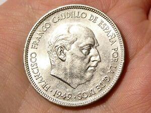 1949 Spain Cinco Pesetas Coin Clean with Bag Marks   #TS65