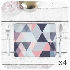 Geometric Placemats set of 4, Grey & Blush Pink Placemats, Modern Scandinavian
