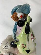 "Zampiva Clown with Cello Figurine Spaghetti Hair - SIGNED from Italy 3"" Denim"