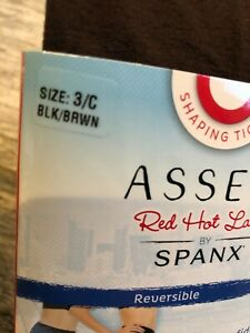 New Spanx Shaping Tights Assets size 3/C Red hot Label  Reversible Black Brown