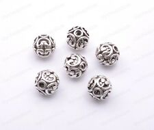 Tibetan Silver Round Shaped Heart Hollow Spacer Bead Findings 12mm