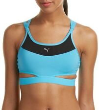 PUMA women PWRSHAPE FUTURE PULLOVER BRA Athletic True Impact Gym Bra Blue LARGE
