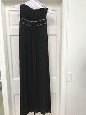 bcbg Designer Long Black Dress Gown Goddess Style Small s EUC Strapless Evening
