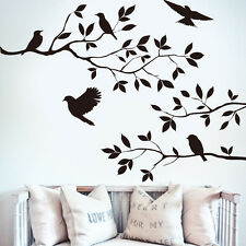 Removable Black Bird Tree Branch Wall Sticker PVC Mural Decal for DIY Room Home