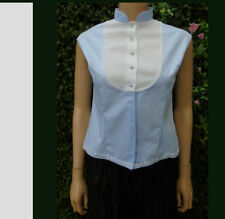 Vintage Blouse Powder 50,60,s  White Bib Collar Cotton Cap  Sleeves  40,s 12