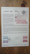 EUROPA 1988 COLLECTION HISTORIQUE DU TIMBRE 1ER JOUR