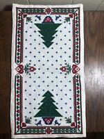 """Counted Cross Stitch 9.5"""" x 17"""" Christmas Tree Dresser Scarf/Runner RE/GREEN"""