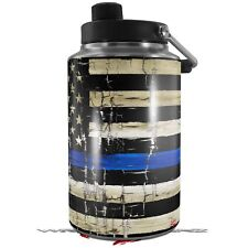 Skin Wrap for Yeti 1 Gallon Jug Cracked Blue Line Stripe Usa American Flag