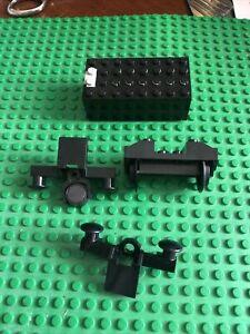 LEGO  Lot Black TRAIN WHEELS Railroad Parts Lot Pieces Battery Box Bumper Magnet