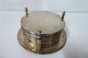 VINTAGE STRACHAM PLATED COASTERS IN STAND