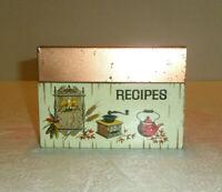Vintage J CHEIN Tin Recipe Box Coffee Grinder Coffee Pot Wall Decpr