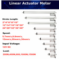 "12V 2""-40"" Inch Stroke Linear Actuator 330lbs Maximum Lift w Mounting Brackets"