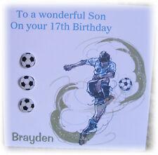 PERSONALISED HANDMADE BIRTHDAY CARD - MALE FOOTBALL THEME BIRTHDAY CARD