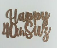 Personalised 40th Happy Birthday Cake Topper Glitter Any Name/Age FREE UK P&P