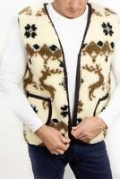 Men Sheepskin Sheep Wool Winter Vest Jacket Coat Sleeveless Super Warm Soft Snow