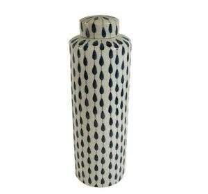 Blue Gray Tear Drop Stripe Lidded Ceramic Jar Canister Vase Contemporary Decor