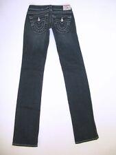 True Religion Jeans Women Billy Slim Straight Leg Dark Distressed Sz 25 NEW $220