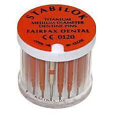 Dental Stabilok Titanium Dentine Pins 20Pcs Orange By Fairfax Dental