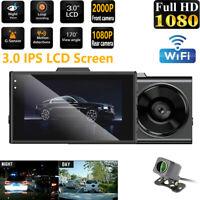 2000P Dash Cam Recorder Dual Lens Camera 1080P GPS WIFI Car DVR Video G-Sensor