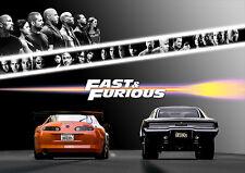 Fast and Furious Poster DIN A1 quer - Wandbild - 59,4 cm x 84,1 cm - Paul Walker