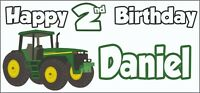 Tractor 2nd Birthday Banner x 2 - Party Decorations - Personalised ANY NAME