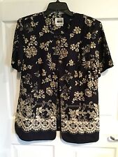 Leslie Fay Jacket Woman's Size 14 Navy blue Beige Button Down Short Sleeve -