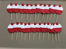 24 Fishing bobber cupcake toppers. Great for birthday parties or baby showers.