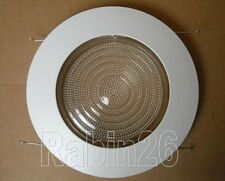 "6"" INCH RECESSED CAN LIGHT RUST PROOF PLASTIC SHOWER TRIM GLASS CLEAR LENS WHITE"