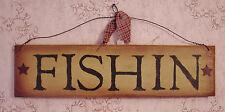 """FISHIN""  Brown/Black Fishing Wooden Sign - 1010"