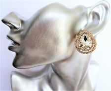 Beautiful Teardrop Design Crystal CLIP ON Stud Earrings Diamante GOLD Tone