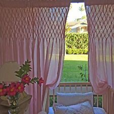 Angads Girls Shabby Chic Pink Smocked Curtains Bedroom Nursery Sheer Curtains
