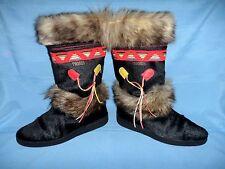 Tecnica Italy Black Goat Fur Boots Apre Ski Skandia - Wom's 9  Euro 41 -Awesome!