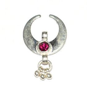 925 Sterling Silver 11.80 Carat Fine Jewelry 1 Inch Moon Shape Pendants BHG17