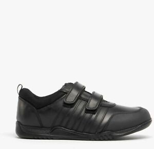 Hush Puppies Josh Boys Leather Black Touch Fasten School Shoes Size UK 1.5