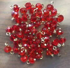 Vintage Old Czech Vibrant Red Faceted Glass Rondell Bead Metal Drops Lot