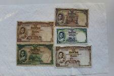 Thailand Banknotes, 1 Bat 1955, 5 Baht 1956, 10 Baht (2) and 20 Baht 1953