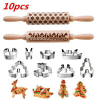 10 Pieces Christmas Rolling Pin+3D Cookie Molds Cutters for Baking Embossed Cook