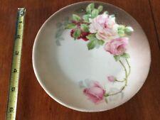 "Antique Bavaria hand painted porcelain china 6"" plate decorator rose flower"
