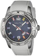 Nautica Men's Quartz Stainless Steel White Silicone Strap 100m Watch NAI13514G