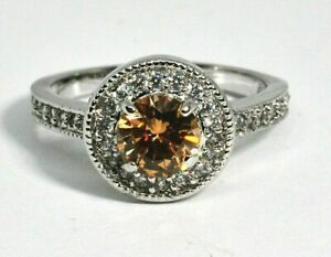 Fragrant Jewels Ring Size 5 Round Pale Yellow & Clear White Rhinestone