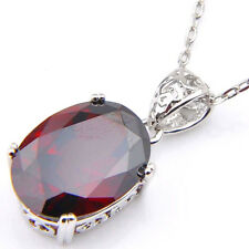 Perfect Oval Shaped Fire Red Garnet Gemstone Silver Necklace Pendant With Chain