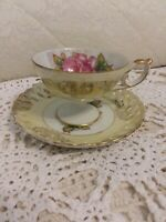 Vintage LM Royal Halsey Very Fine Tea Cup and Saucer Rose Design