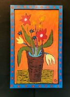 "John Sperry Southern Primitive Folk Art Painting Framed Potted Flowers ""Bo-K"""
