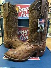Tony Lama Men's Vintage Full Quill Ostrich Exotic Western Boots Brown 8965 Sz 8D