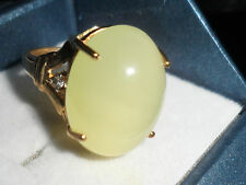 100% Natural Large Gem Stone 9K Green Aragonite Ring Rare