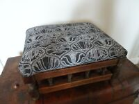 Antique Turned Oak Footstool with Newly Upholstered Black & White Design Fabric