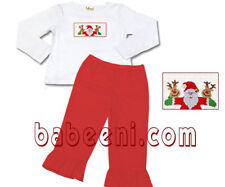 Babeeni size 24 Months Christmas SMOCKED Santa Shirt Red RUFFLE Pants OUTFIT 24M