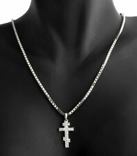 Links Of London 18k White Gold 0.21ct Diamond Tsar Cross Box Chain Necklace