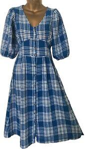 NEXT Womens Blue Check Linen Blend Midi Tea Dress Long Summer Buttoned 6 - 22
