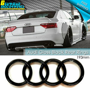 Audi Rear Rings Emblem Gloss Black Trunk Badge A1 A3 S3 A4 S4 A5 S5 A6 S6